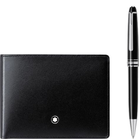 Dárková sada Montblanc Meisterstuck Platinum kuličkové pero a Meisterstuck peněženka 117084