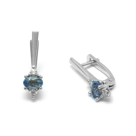 Diamantové náušnice s akvamarínem  27505
