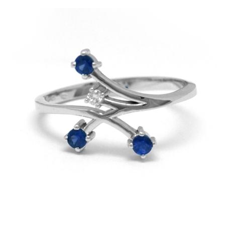 Diamantový prsten se safíry  26990