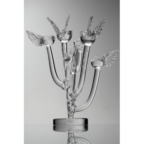 GABRIEL - svícen s andělskými křídly z kolekce uměleckého skla Bořka Šípka