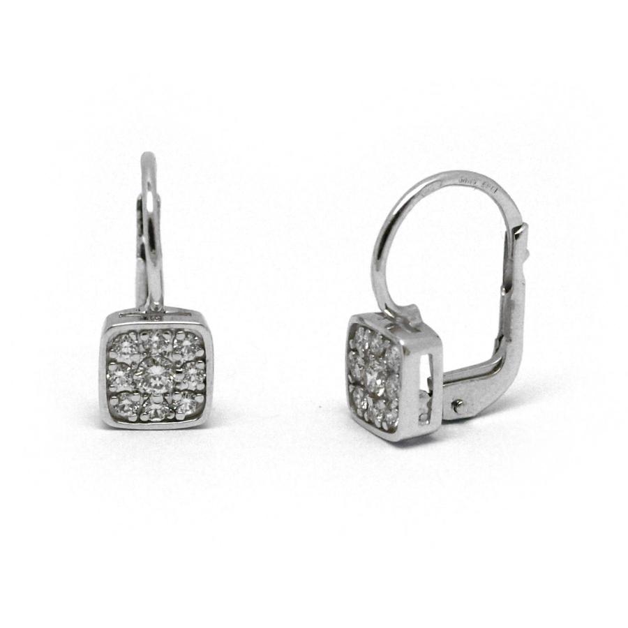 1f3edfa13 Dámské náušnice z bílého zlata s 18 diamanty v páru, ve čtvercovém ...