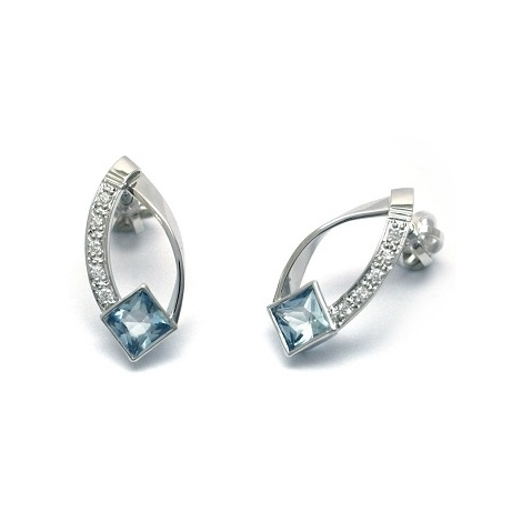 Náušnice s diamanty a akvamaríny 31215