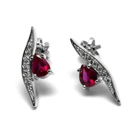 Náušnice s diamanty a rubíny 26742