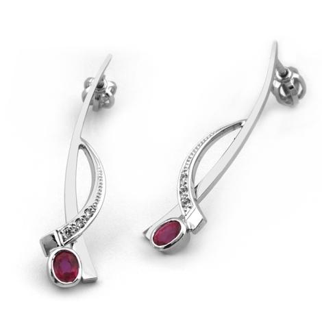Náušnice s diamanty a rubíny 32183
