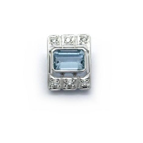 Přívěsek s diamanty a akvamarínem 28186