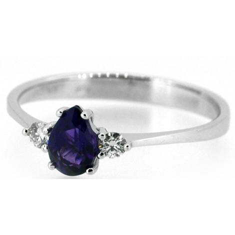 Prsten s ametystem a diamanty 31579