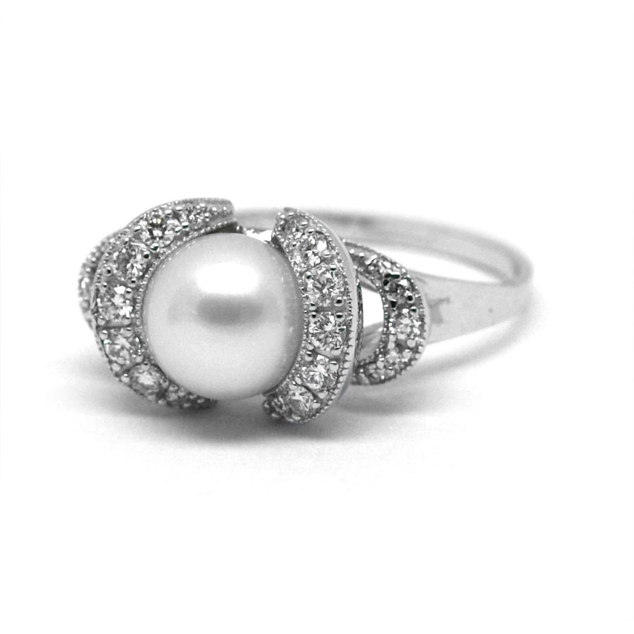 32773aa52 Prsten s diamanty a perlou 27877 | DEAL Klenotnictví