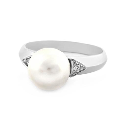 Prsten  s perlou a diamantem 32438