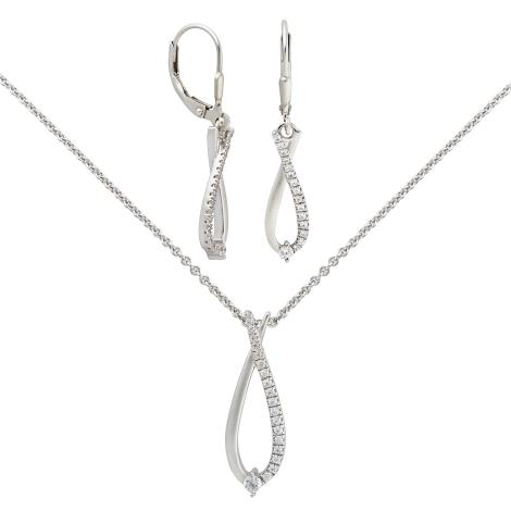 Stříbrný set náušnic a náhrdelníku Silver Cat